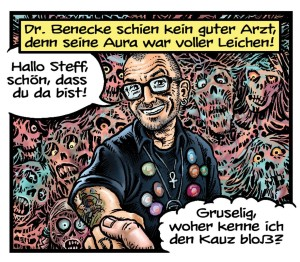 Dr. Mark Benecke in einem Comic von Steff Murschetz